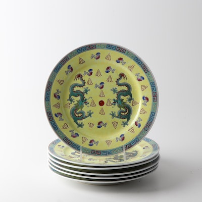 Chinese Dragon Motif Ceramic Dinner Plates