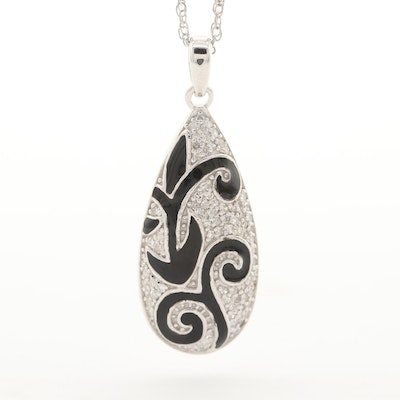 Sterling Silver Diamond and Enamel Necklace