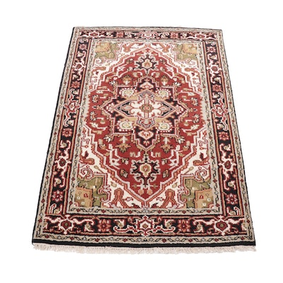 4'0 x 6'3 Hand-Knotted Indo-Persian Heriz Serapi Rug