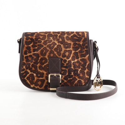 MICHAEL Michael Kors Leopard Print Pony Hair and Brown Leather Crossbody Bag