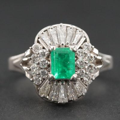 Platinum Emerald and 0.98 CTW Diamond Ring