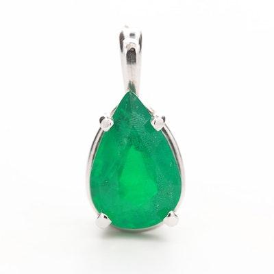 14K White Gold Emerald Teardrop Pendant