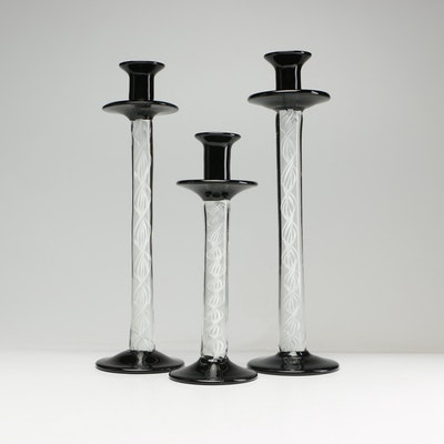 Blown Art Glass Candlesticks in the Style of Steuben