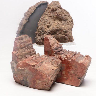 Arizona Petrified Wood Specimens and Agate Geode Bookends