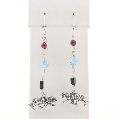 Sterling Tiger Dangle Earrings with Rhodolite Garnet, Black Onyx and Glass