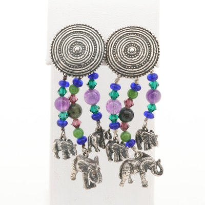 Kabana Sterling Elephant Earrings with Amethyst, Chrysocolla and Quartzite