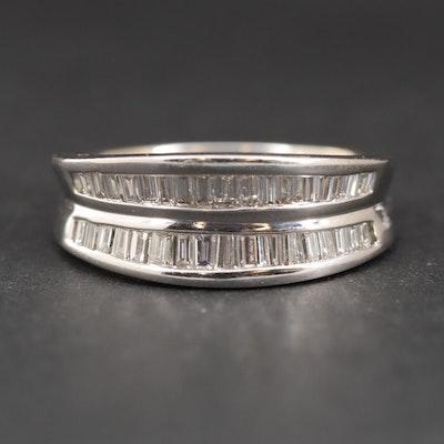 18K White Gold Double Row Diamond Ring