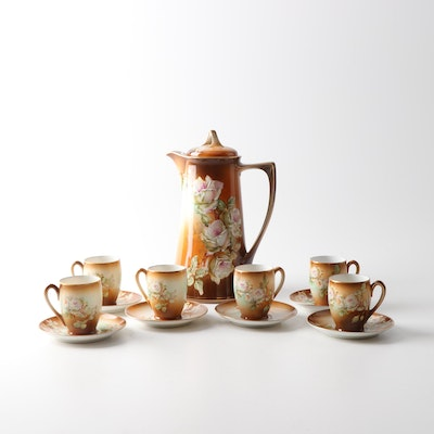 Moritz Zdekauer M Z Austria Porcelain Chocolate Set, Early 1900s
