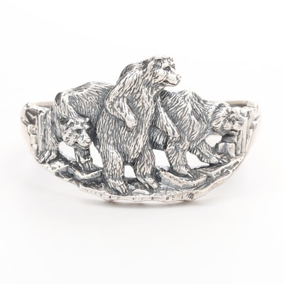 Kabana Sterling Silver Three Bears Cuff Bracelet