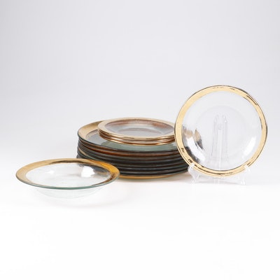 Gilt Rimmed Glass Dinnerware