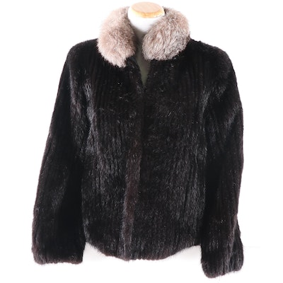 Corded Ranch Mink Fur and Leather Jacket with Fox Fur Collar