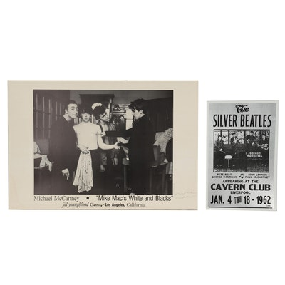 """Mike McCartney Autographed Poster and Reproduction """"Silver Beatles"""" Poster"""