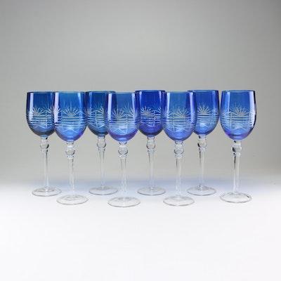 Cobalt Blue Cut Glass Stemware