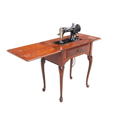 Vintage Singer Sewing Machine in Walnut Queen Anne Style Cabinet