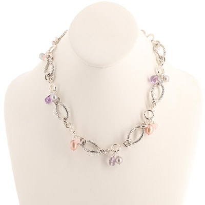 Michael Dawkins Sterling Silver Quartz, Amethyst and Cultured Pearl Necklace