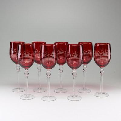 Red Cut Glass Stemware