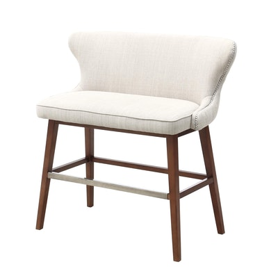 Tufted Upholstered Bar Bench, Contemporary