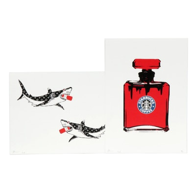 """Death NYC Graphic Print """"Coffee Perfume Red"""" & """"No. 6 Death Parfum with Sharks"""""""