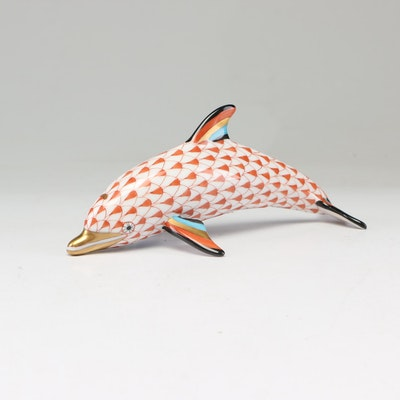 Herend Red Fishnet Dolphin Figurine
