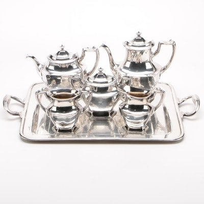 Meriden Silverplate Coffee & Tea Service with Tray, Early 20th Century