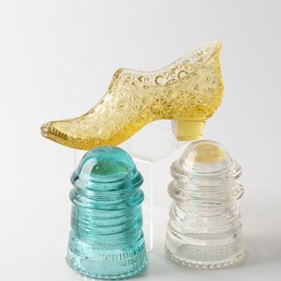 Fenton Art Glass Shoe and Hemingray Telegraph Insulators