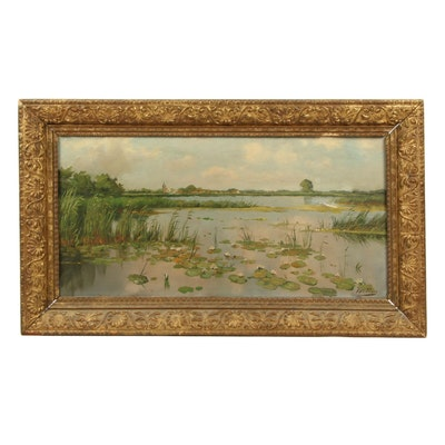 H.W. Eckhardt Landscape Oil Painting of Marsh with Lily Pads