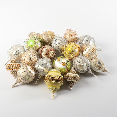 Vintage 1960s Victorian Style Bead and Sequins Handmade Ornaments