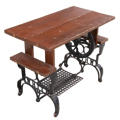 """""""White"""" Cast Iron Sewing Base and Pine Bench"""