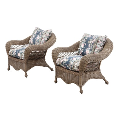 Pair of Natural Wicker Lounge Chairs, Contemporary