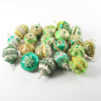Vintage 1960s Victorian Style Bead and Sequin Handmade Ornaments