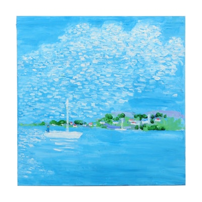 Will Becker Acrylic Painting of Boats on Water