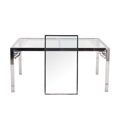 Contemporary Metal and Glass Chinese Art Deco Style Dining Table