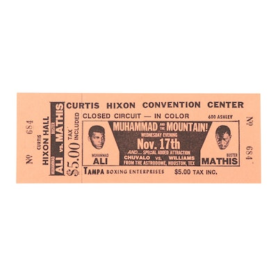 """""""Muhammad and the Mountain!"""" Unused Boxing Ticket Stub, 1971"""