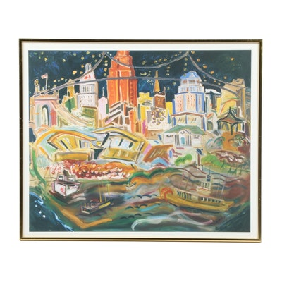 "Offset Lithograph After Beverly Erschell ""Cincinnati Skyline"""