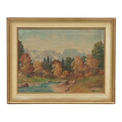 J. Austin Mountain Landscape Oil Painting