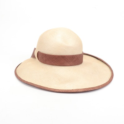 Anita Pineault Woven Straw Two-Tone Hat