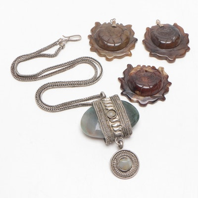 Carved Jasper Pendants and Hard Stone Necklace