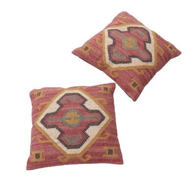 1'8 x 1'8 Handwoven Turkish Kilim-Faced Pillows