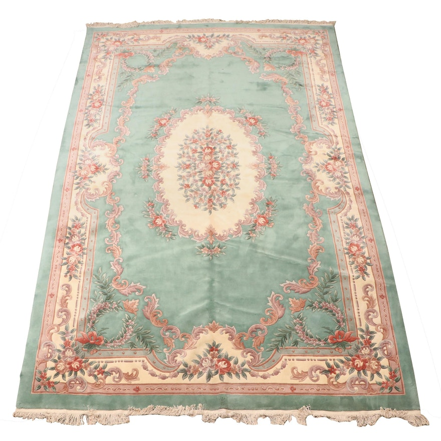 Hand-Knotted Persian Style Sculpted Wool Palace Sized Rug