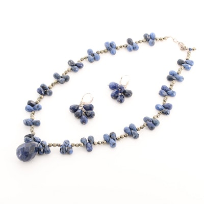 Beaded Sodalite and Pyrite Necklace and Earrings with Sterling Silver Findings