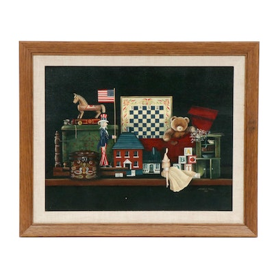 Shirley Ewick Still Life of Toys Acrylic Painting