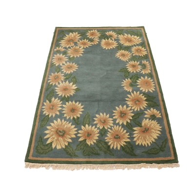 4'9 x 8'1 Hand-Tufted Chinese Mid Century Modern Style Floral Rug