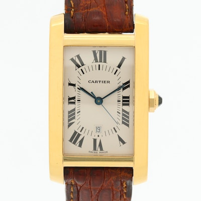 18K Gold Cartier Automatic Wristwatch With Date