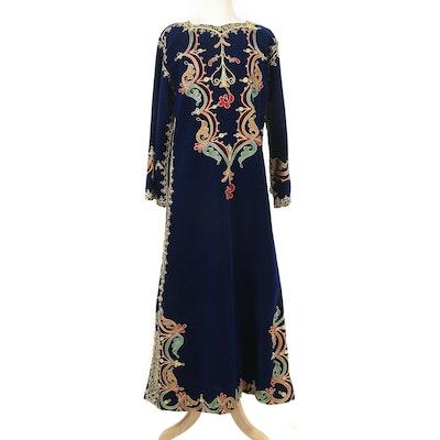 Kashmir Style Blue Velvet Embroidered Kaftan