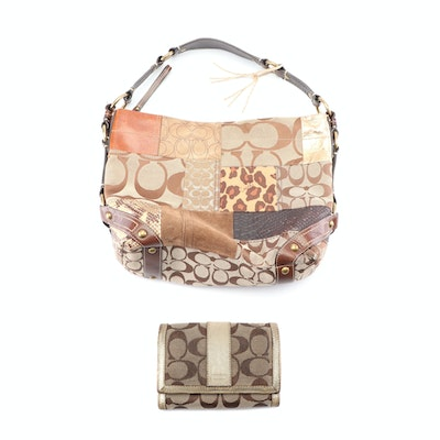 Coach Carly Ocelot Patchwork Hobo Bag and Coach Jacquard Bifold Wallet