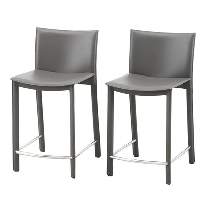 Pair of Faux Leather Counter Stools, Contemporary