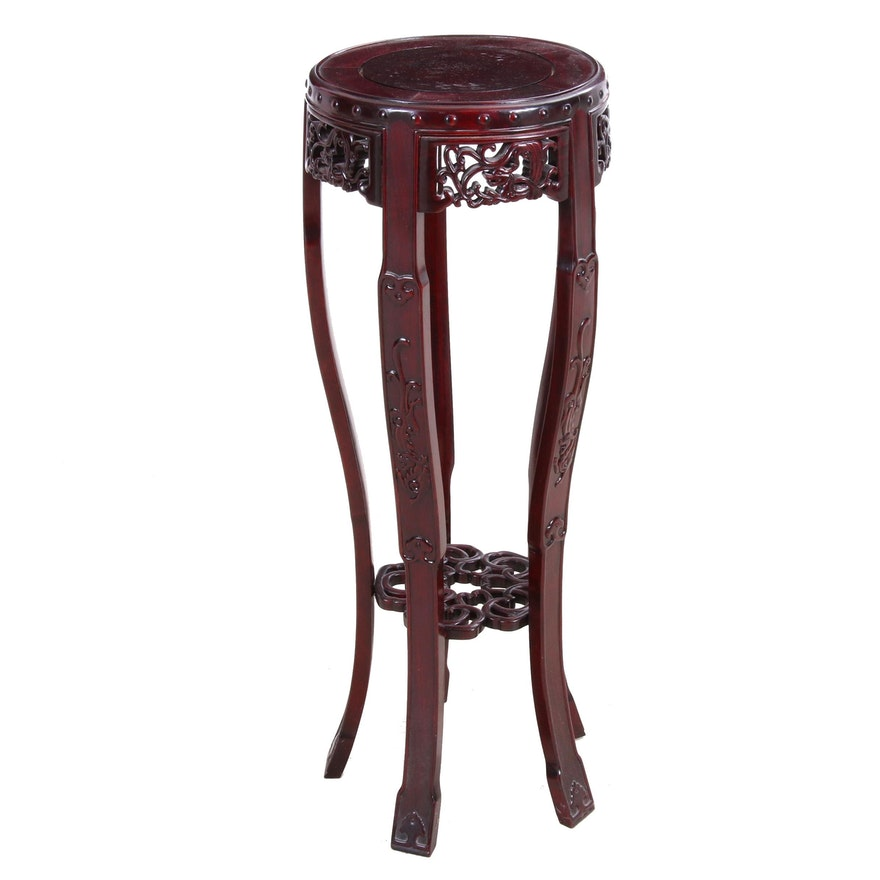 Carved Chinese Rosewood Plant Stand, Late 20th Century