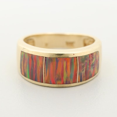 14K Yellow Gold Synthetic Opal Band
