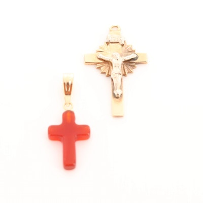 14K Yellow Gold Carnelian Cross and 14K Yellow and White Gold Crucifix Pendants