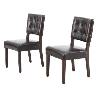 Pair of Tufted Leather Sidechairs